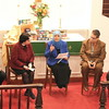 Eman Beshtawii, center, makes a point during a conversation she and other religious leaders held within the Interfaith Thanksgiving Gathering on November 22 at Newtown United Methodist Church. The annual event was celebrated this year at Newtown United Methodist Church, and was presented by members of Newtown Interfaith Clergy Association. With Ms Beshtawii, who is co-founder of Al Hedaya Islamic Center, are, from left, The Reverend Leo McIlrath, chaplain, The Lutheran Home of Southbury; Pastor Kathie Adams-Shepherd, rector, Trinity Episcopal Church; Rabbi Shaul Praver, Jewish chaplain, Connecticut Department of Corrections; and John Woodall, representing Baha'i Faith of Newtown. The group discussed the Golden Rule from their religious points of view, and vowed to keep open minds concerning all people. (Hicks photo)