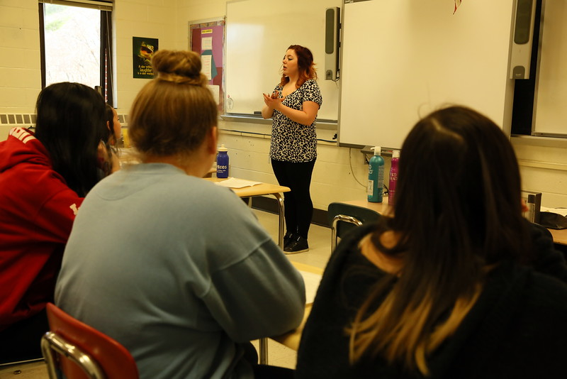 Ricci's Salon & Spa cosmetologist Leanne Shupe spoke with students at the middle school's Career Day. (Hallabeck photo)