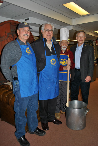From left, Newtown Rotary Club members Pat Caruso, Dan Honan, Dr Bob Grossman, and Larry Gardner invite the public to attend the 55th Annual Rotary Club Pancake Breakfast, Saturday, December 5, in the Alexandria Room of the Edmond Town Hall, from 8 am to 1 pm. Enjoy pancakes (served up by Dr Bob, enjoying his 55th year flipping flapjacks), sausage, beverages, and entertainment by Lathrop School of Dance and Newtown Classical Ballet. Ticket at the door; $7, adults, $3 for children under 10. (Crevier photo)