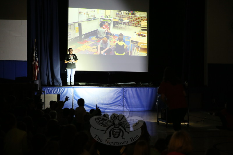 Middle Gate special education teacher Lola Aldrich introduced a video to an assembly on students on Thursday, October 22. The Community Circle event discussed diversity and how to make friends. (Hallabeck photo)