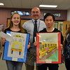 "Newtown Middle School eighth graders Aliya Hafiz, second from left, and Jack Wojtowicz, second from right, stood with their winning poster entries into this year's Connecticut School Transportation Association (COSTA) poster contest, which challenged students to create images themed on ""Bully-Free Zone!"" Standing with the students from left are art teacher Kristen Ciarletto, Principal Thomas Einhorn, and art teacher Leigh Anne Coles. (Hallabeck photo)"