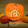 An illuminated pumpkin set the mood for the FUN Halloween Dance at the high school.  (Gorosko photo)