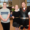 Three participants at the FUN Halloween Dance enjoyed the social activities in the high school's cafetorium. From left are Caleb Bain, Alicia Crossley, and Johnny Nowacki. (Gorosko photo)