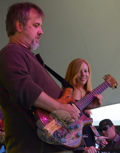 Legion of Jerry, one of more than 20 musical acts at the 2015 Shuck 'N Jive  Festival, created spot-on recreations of Jerry Garcia Band material. Pictured are guitarist and singer Jeff Markinson, voaclist Kate Hubbard, and keyboard player Jordan Giangreco. (Voket photo)