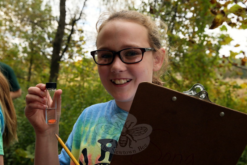 Reed Intermediate School sixth grader Shannon Kelleher was one of many students to test the turbidity of the water at Deep Brook on Thursday, October 8. (Hallabeck photo)