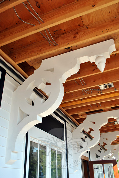Ornate brackets beneath the front canopy are replicas of ones discovered beneath an interior dropped ceiling. (Crevier photo)