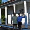 Flint Development, LLC partners Chris Wilson, left, and Chris Hottois stand in front of the second building they are renovating. The small building on West Street, directly behind 33 Main Street, is Newtown's oldest commercial building, and was the original southerly section of 33 Main Street, before it was removed and resituated. (Crevier photo)