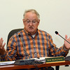 Planning and Zoning Commission (P&Z) Chairman Robert Mulholland discussed aspects of a mixed-use complex proposed for Hawleyville at an October 15 P&Z public hearing. (Gorosko photo)