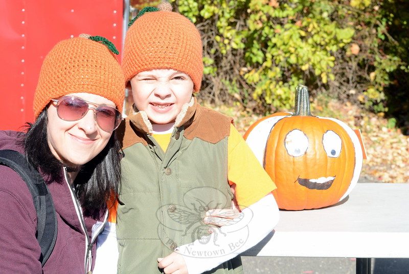 Tara Foster with her nephew, 6-year-old Trace Irwin, and their pumpkin, Nemo. (Hutchison photo)