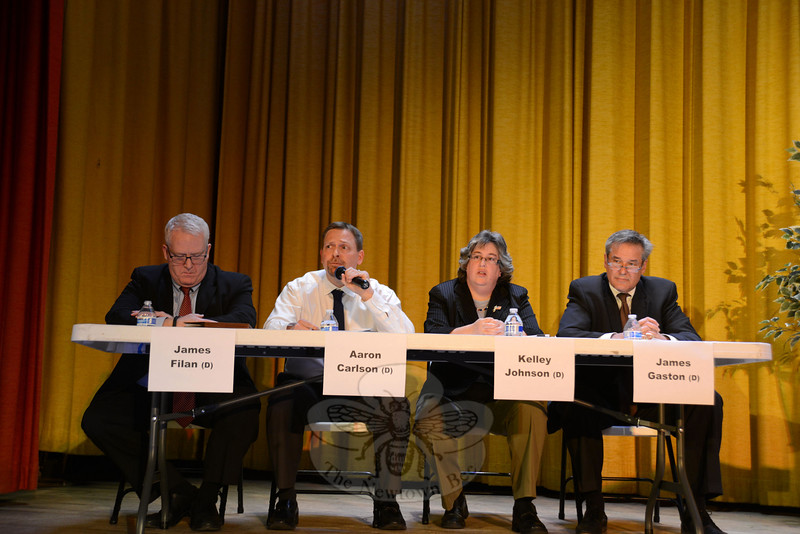 The slate of local Democrats vying for seats on the Board of Finance gathered October 20 for The Bee's Candidates Forum at Edmond Town Hall. They are, from left, incumbent James Filan, Aaron Carlson, Kelley Johnson and former finance board vice chair, current selectman and Borough of Newtown Warden James Gaston, Sr. (Bobowick photo)