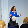 "Elizabeth Esty, US Representative for the Fifth District of Connecticut, addresses a crowd a C.H. Booth Library, Monday afternoon, October 19. Rep Esty was in Newtown for a ""Congress On Your Corner"" venue, the ninth one-on-one meeting with constituents she has hosted in the state. More than three dozen people signed up for a brief, personal meeting with the congresswoman, taking advantage of the opportunity to express concerns, and pick up state and federal informational material. (Crevier photo)"
