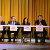 Four local Republicans running for the Board of Finance participated in The Bee's pre-election Candidates Forum October 20 in the Edmond Town Hall theater. The candidates are, from left, incumbent John Godin, David Ruhs, Sandy Roussas, and Mark Boland. (Bobowick photo)