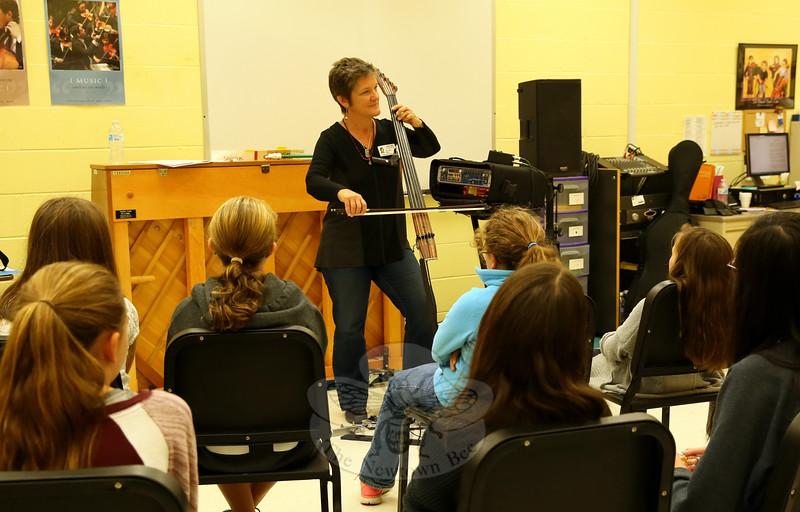 Electric cellist Jami Sieber played for Reed Intermediate School students on Wednesday, October 14. (Hallabeck photo)