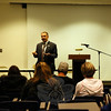 Superintendent of Schools Joseph V. Erardi, Jr, spoke during a community forum on Wednesday, October 28. The next community forum is slated for December 16, at 7 pm, at the Newtown High School Lecture Hall. (Hallabeck photo)