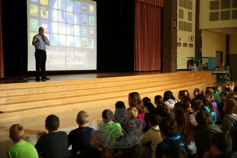 "Scott Driscoll of Internet Safety Concepts shared his ""Empowering Smart Online Choices"" presentation with Reed Intermediate School students on Tuesday, October 13. (Hallabeck photo)"