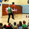 National Circus Project Executive Director Greg Milstein demonstrated how students can learn to juggle by using scarves during a presentation at Sandy Hook Elementary School on Friday, October 2. (Hallabeck photo)