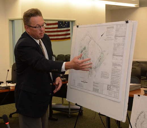 Engineer Dainius Virbickas of Artel Engineering Group, LLC of Brookfield, representing Covered Bridge Newtown, LLC, speaks at a September 3 Planning and Zoning Commission public hearing about a proposed major mixed-use complex off Hawleyville Road (Route 25) in Hawleyville. (Gorosko photo)