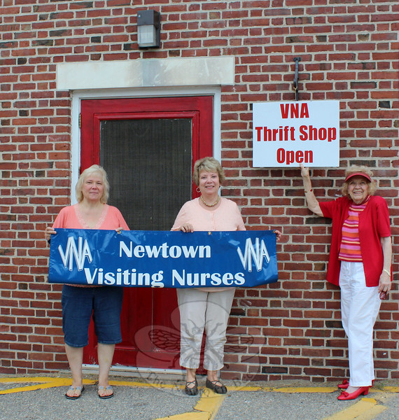 Visiting Nurse Association of Newtown members, from left, Anna Wiedemann, Joan Reynolds, and Mae Schmidle are hoping savvy shoppers will take advantage of recent acquisitions at the VNA Thrift Shop, which will reopen for the season on September 12. (Hicks photo)