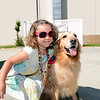 Sadie Singlak could not get enough of therapy dog Abbie Einstein. (Bobowick photo)