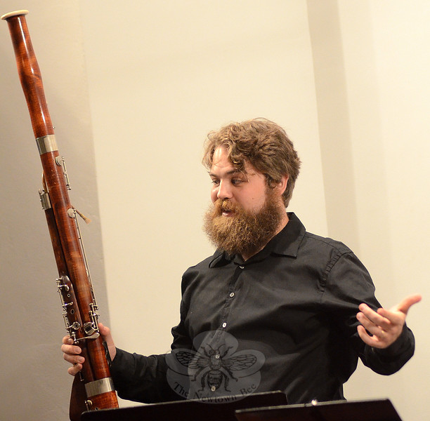 Basoonist Scott Switzer previews one of the eclectic and entertaining selections presented by The New England New Music Ensemble September 11 at the Newtown Meeting House, one of the many Newtown Arts Festival events going on all month. (Voket photo)