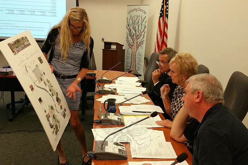 "Newtown Parks and Recreation Director Amy Mangold shows the Board of Selectmen a sketch illustrating a proposed ""splash pad"" water installation and surrounding features being planned for Dickinson Park. First Selectman Pat Llodra, center, Selectman Will Rodgers, foreground, and Selectman James Gaston heard from Ms Mangold and several other department heads during a Sep-tember 10 meeting before unanimously approving and moving the townside five-year Capital Improvement Plan to the Board of Finance. (Voket photo)"