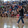 Former WCW and WWE wrestling champion Marc Mero spoke to Newtown Middle School students visiting Newtown High School for the event on Wednesday, September 9. He gave multiple presentations during his visit to Newtown, including and evening presentation for parents and students.  (Hallabeck photo)
