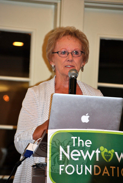 Persistence of effort is needed, Newtown First Selectman Pat Llodra tells breakfast diners at the September 12 Newtown Foundation fundraiser, in order for societal changes to occur. (Crevier photo)