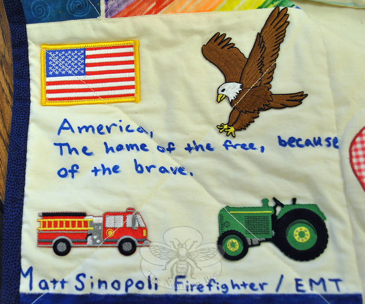 Matt Sinopoli was a first grader in Eileen Monea's 2001 class, in Ohio, which made the Comfort Quilt that eventually was passed forward to Newtown after 12/14. That quilt has been missing from the archives of the Town of Newtown for more than two years. Mr Sinopoli, along with three other former 2001 classmates, donated this square to be included in the recreation of a quilt that will continue the journey of bringing comfort where it is needed. (Crevier photo)