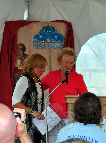 Newtown First Selectman Pat Llodra, right, introduced the town's first Poet Laureate Lisa Schwartz on Saturday, September 20. (Hallabeck photo)