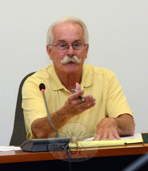 Planning and Zoning Commission (P&Z) member Donald Mitchell makes a point during a September 17 P&Z public hearing on a proposal to create design district zoning regulations for the area near the Exit 10 interchange of Interstate 84. (Gorosko photo)