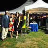 Newtown Arts Festival Director and Chair Terry Sagedy, left, stood with Rooster Ball Co-Chairs Andrea Spencer, center, and Andrea Brady near the start of the 2015 Rooster Ball on Saturday, September 19. (Hallabeck photo)