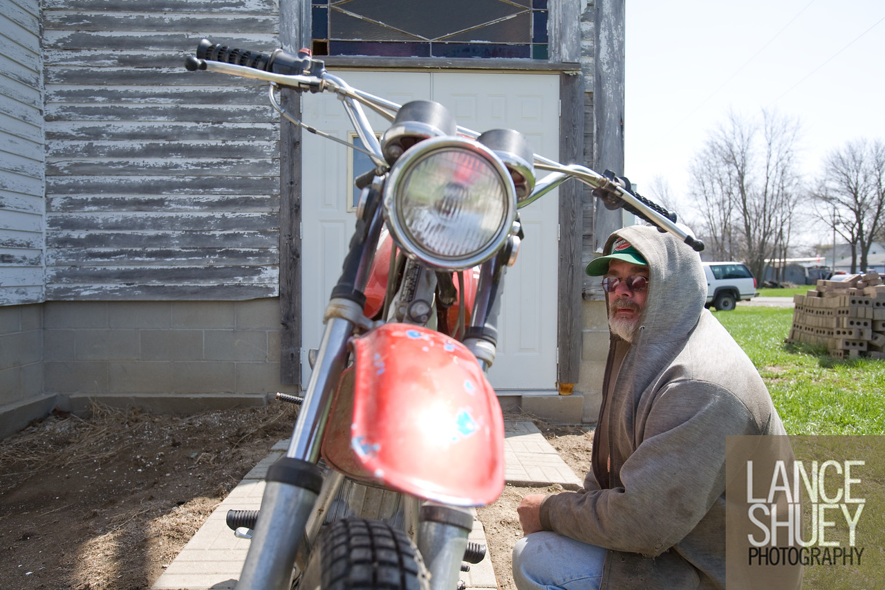 David Wermager of Melbourne, IA works on his 1971 Honda SL350 motorcycle. David works for the Union Pacific Railroad Co and that keeps him traveling most of the week.