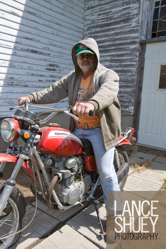 David Wermager of Melbourne, IA on his 1971 Honda SL350 motorcycle. David works for the Union Pacific Railroad Co and that keeps him traveling most of the week.