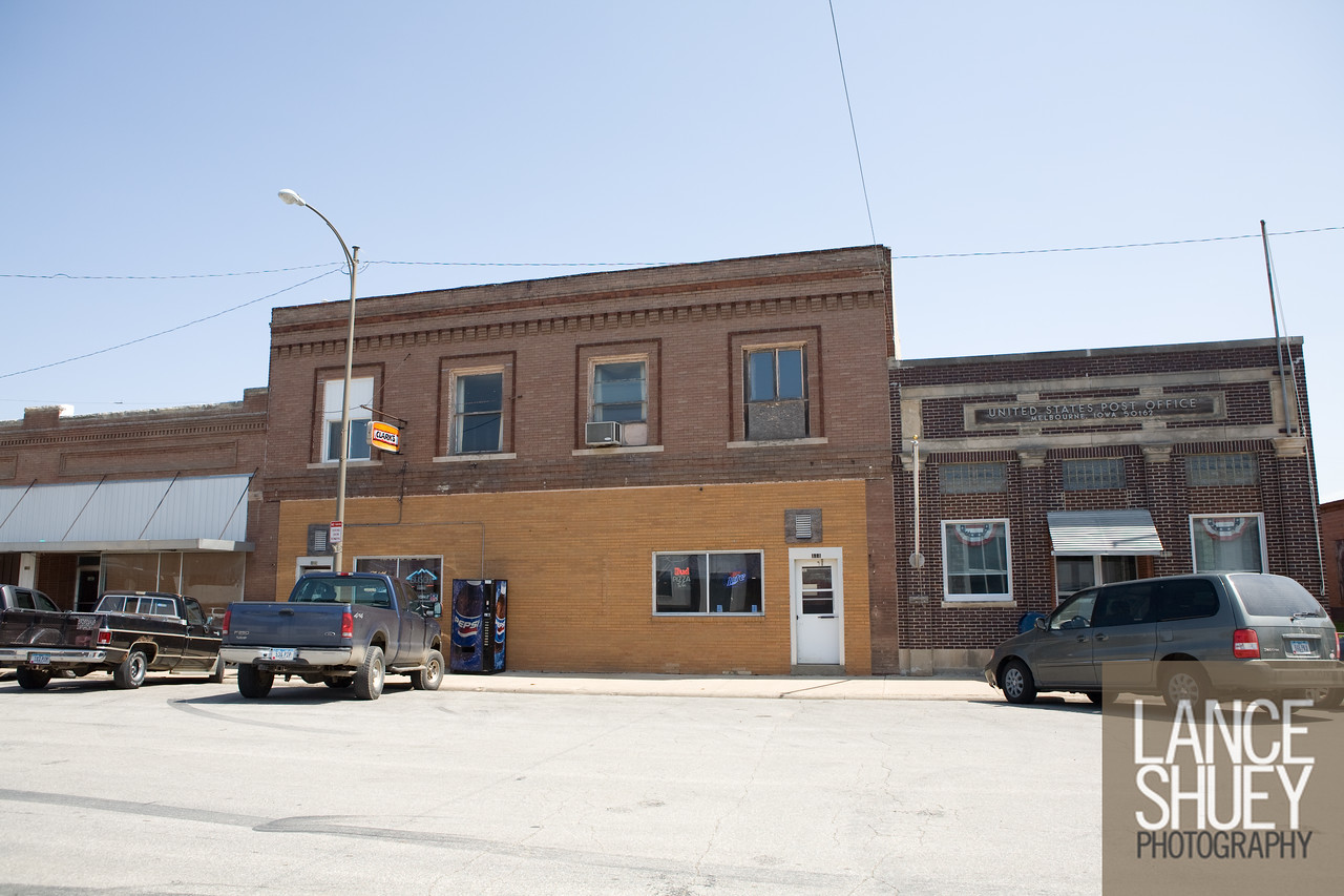 Clark's Bar and the United States Post Office on Main Street, Melbourne Iowa.