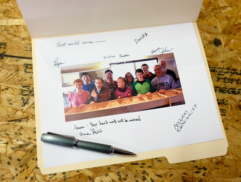 The <b>Kaholo 14 Team</b> (L to R) Mary, Jack, Anna, Roger, Kristina with a 'K', Sarah with an 'H', Nick, David, Frank, and John.  The Get Well card was sent to one of the Team members who had to sit this one out while he recuperated from surgery.