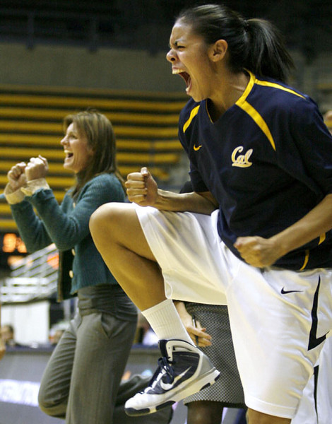 California head coach Joanne Boyle and Rachelle Federico cheer as Cal takes the lead in the second half in an NCAA college basketball game against Texas A&M, Dec. 6, 2009 in Berkeley, Calif.  AP Photo/Dino Vournas