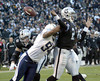 Oakland Raiders quarterback JaMarcus Russell is sacked by the San Diego Chargers'Jyles Tucker (94), fumbles and Tucker recovers in the endzone for a touchdown in the third quarter of an NFL football game, Sunday, Dec.30, 2007 in Oakland, Calif..    (AP Photo/Dino Vournas)