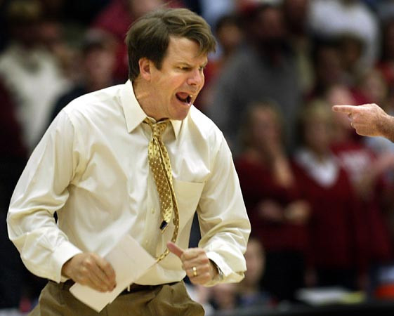 Southern California head coach Tim Floyd protested a foul call against his team late in the second half against Stanford in an NCAA  basketball game, Saturday, Jan. 5, 2008 at Stanford, Calif.  Stanfrd won 52-46.  (AP Photo/Dino Vournas)