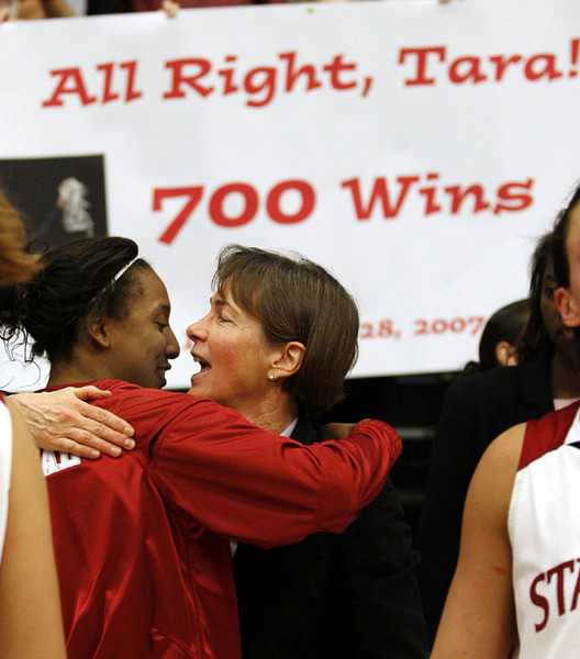 Stanford's head coach Tara Vanderveer, right, gets congratulated guard Candice Wiggins after they beat Washington State 105-47 to give her the 700th win of her coaching career in a Pacific-10 NCAA basketball game,  Friday, Dec. 28, 2007 in Stanford, Calif.  (AP Photo/Dino Vournas)