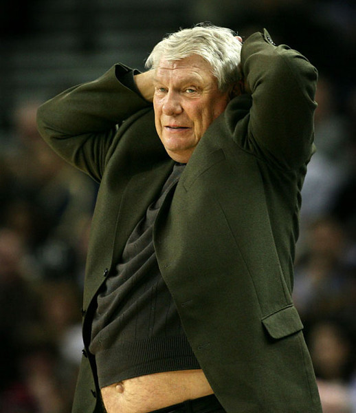 Golden State Warriors head coach Don Nelson showed some skin while disagreeing with a ref's call in the third quarter against the Atlanta Hawks in an NBA basketball game, in Oakland, CA, 2/11/07.  AP Photo/Dino Vournas