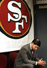 The San Francisco 49ers' CEO and team president <br /> Jed York reflects after introducing their new interim head coach, former defensive line coach Jim Tomsula, to replace Mike Singletary, at a press conference at team headquarters, Monday, Dec.  27, 2010 in Santa Clara, Calif.     (AP Photo/Dino Vournas)
