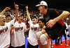 Stanford's Brad Lawson, right, jumps into a group of teammates celebrating their victory over Penn State in the NCAA Volleyball Championship, Saturday, May 8, 2010 in Stanford, Calif.  Lawson was the star with 24 kills as Stanford won 3 sets to zero.  AP Photo/Dino Vournas
