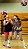 Girls having fun at a youth volleyball clinic at Harvest Park Middle School in Pleasanton, California.