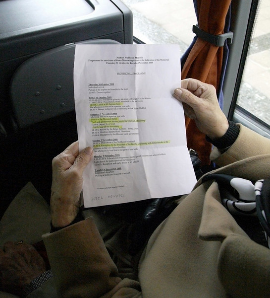 The Agenda - aboard the bus heading to the Romer, Frankfurt's Town Hall for the city's official welcome to the invited guests. This was the first official event for the gathering of Buna survivors.
