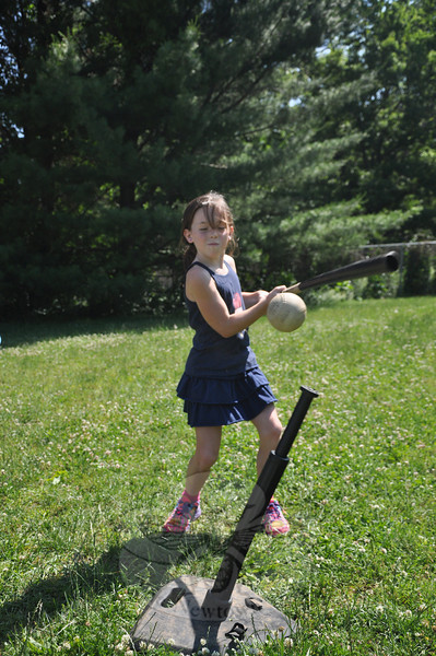 Katie Marcum connected with a softball during the home run derby at Middle Gate School's annual Field Day on Monday, June 17.   (Dietter photo)