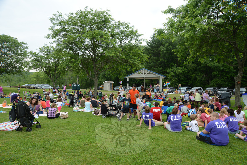 A large crowd gathered before the new band shell on June 26, where a Wednesday afternoon concert series is being offered for children this summer.  (Bobowick photo)