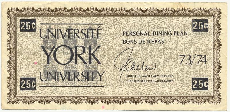 York University personal dining plan scrip 25¢ front.