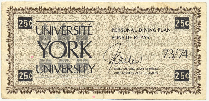York University personal dining plan scrip 25¢ front.