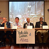 Candidates for Mayor of Boston at forum held August 13 by Youth Jobs Coalition and allies: Charles Yancey, Bill Walczak, Marty Walsh, John Barros, David James Wyatt, and Felix Arroyo.