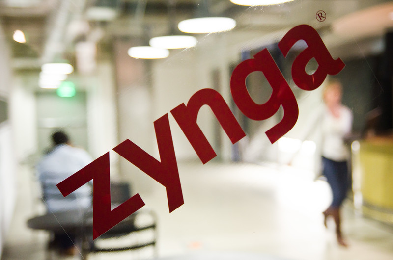 We are at Zynga: a sticker on a window inside the company headquarters